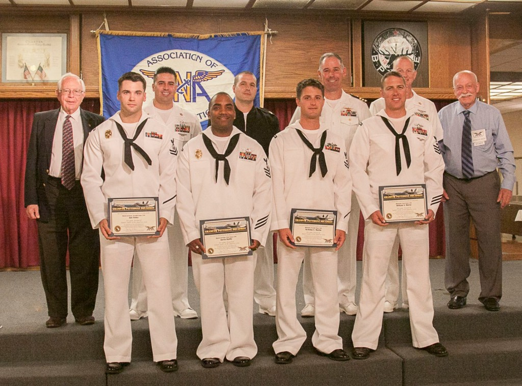 Front from left: MA2 Finley, MA1 Battle, MN2 Martin, MN1 Morse. Back from left: Sel Ramsay, MAC Deleon, MNC Gardner, CDR Franzen, CMDCM Reeder, George Del Gaudio