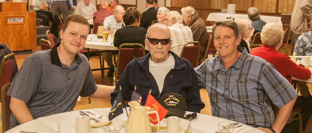 LCDR G.I. MAYS CELEBRATES WITH GRAND SON AND GREAT GRANDSON AT GRAMPS' LUNCHEON. L to R: Jeff Purdy , LCDR G.I.Mays, Kellen Dawson. Besides Andy Benjock, Wil Hardy and a couple of others, Gramps has a few more members who are older than 90 years. One of the others who does not attend every meeting like Andy, is ANA Life Member, LCDR