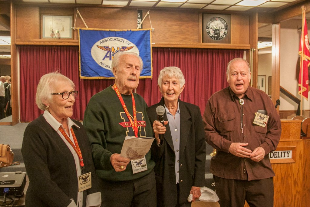 Gramps Members Celebrate the Marine Corps Birthday by singing the Marine Corps anthem. L to R: Lorraine Dadamo, Andrew Benjock, Dolores Hardy & Jim Faulkner.
