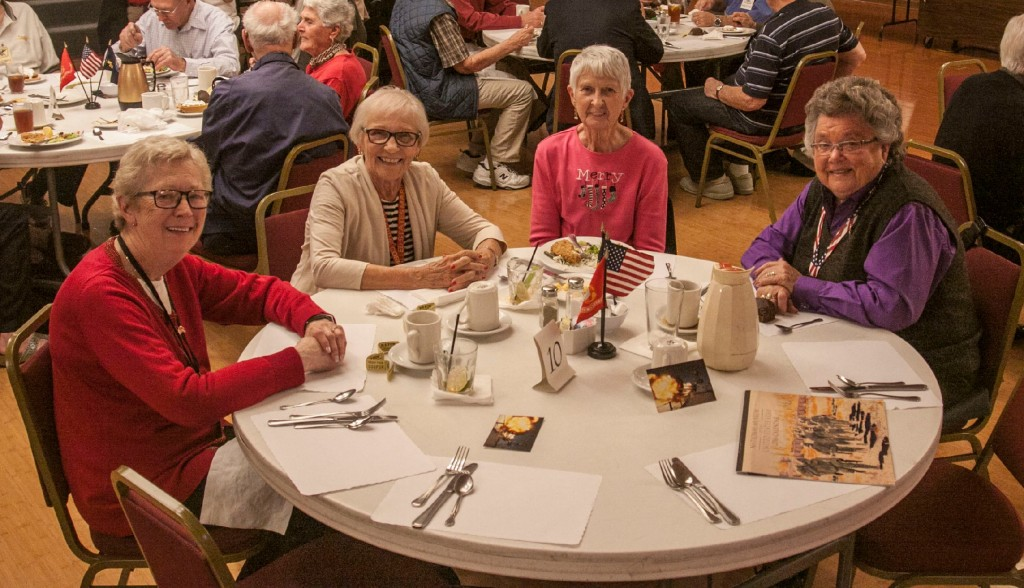 At the December Monthly GPS Meeting, GPS Treasurer Dolores Hardy joins her friends and check-in helpers at Gramps' December luncheon. From the left: Marie Hill, Lorrine Dadamo. Do;ores Hardy. And Chris Kretsinger.
