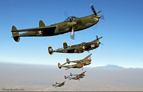 Five of the remaining Six P-38s