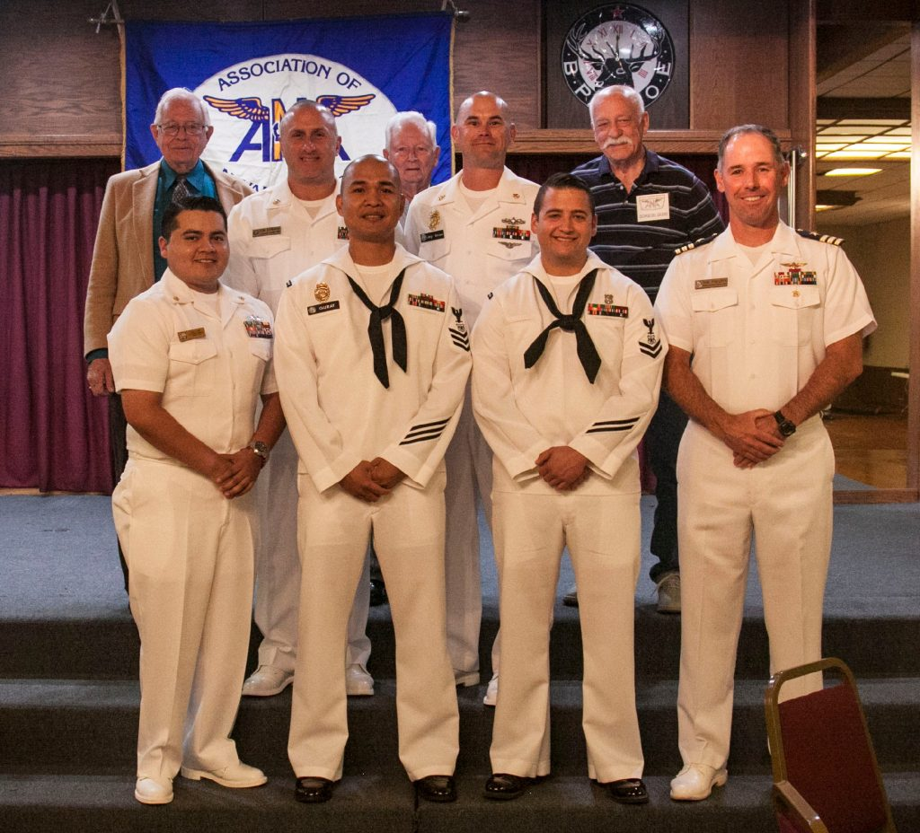 Top Row, L to R): Sel Ramsay, Command Master Chief Don Schrader (NMC, CWD/NWSSB), Bill Thompson, Chief Petty Officer Jay Knox (NWSSB), George Del Gaudio. (Front Row, L to R): Chief Petty Officer Luis Flores (NMC CWD), Petty Officer First Class Perrylennon Guray (NWSSB), Petty Officer Second Class Brandon Kinney (NWSSB), CDR Erik Franzen, XO NWSSSB.